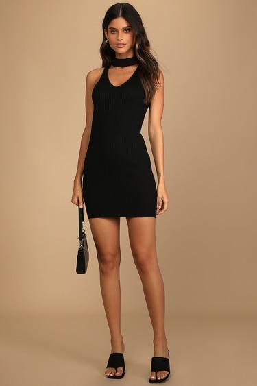 Much to Love Black Ribbed Knit Mock Neck Sleeveless Mini Dress
