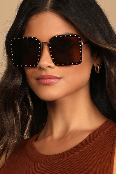 Modern Viewpoint Brown Studded Square Sunglasses