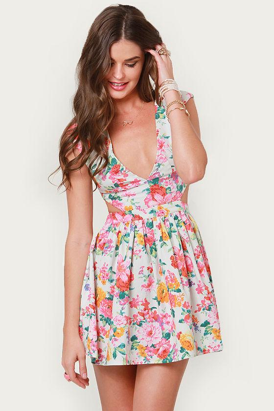 8f9ac1185927 Cute Ivory Floral Print Dress - Cutout Dress
