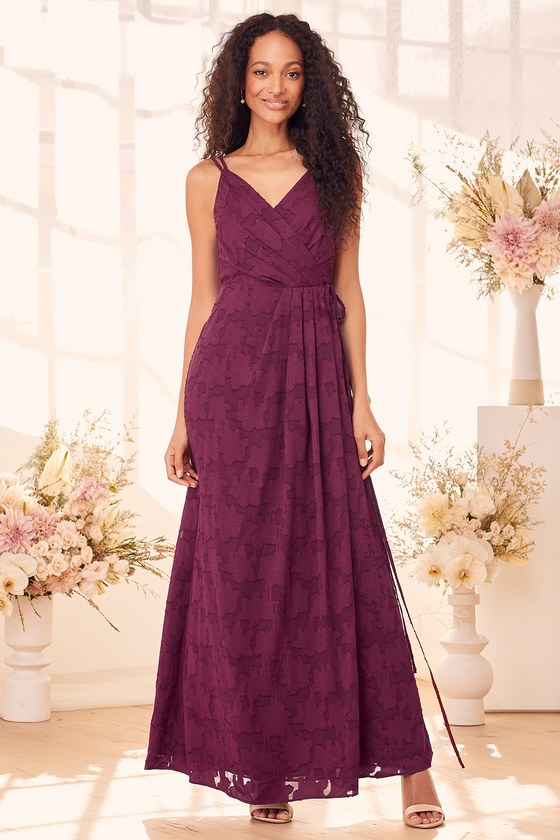 Joyous Celebration Burgundy Burnout Jacquard Wrap Maxi Dress