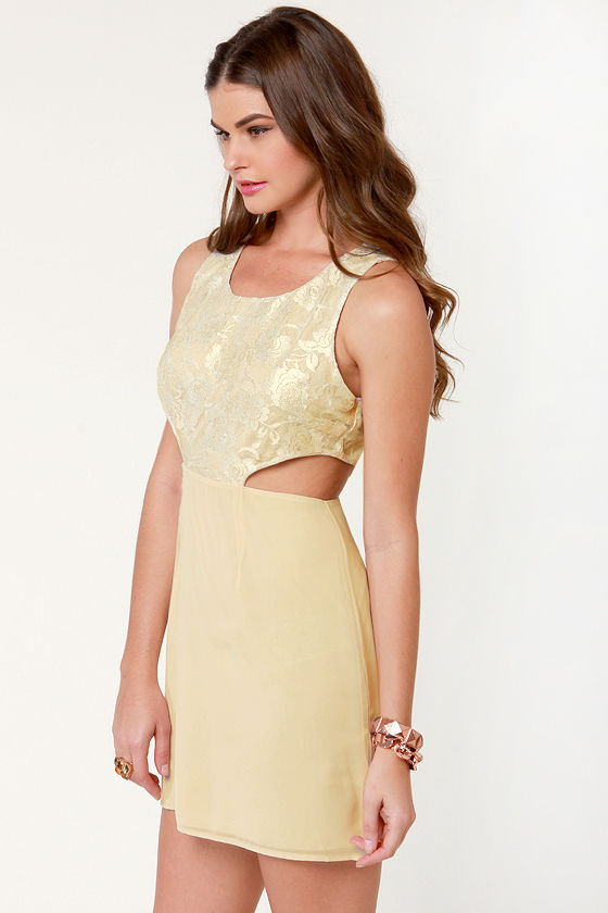 Lace-in' Learned Beige Lace Dress at Lulus.com!