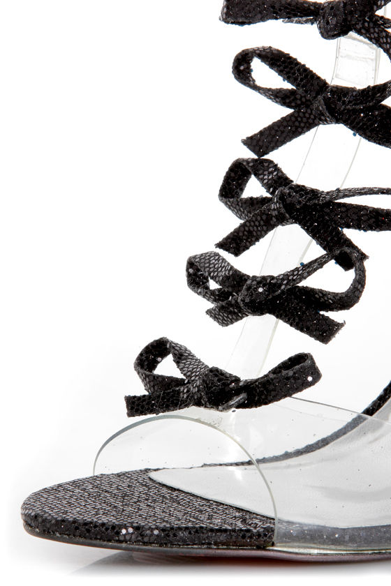 Luichiny Be Dazzled Black Glitter and Lucite Floating Bow Heels at Lulus.com!