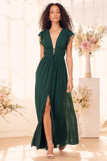 I'm All Yours Emerald Green Ruffled Maxi Dress