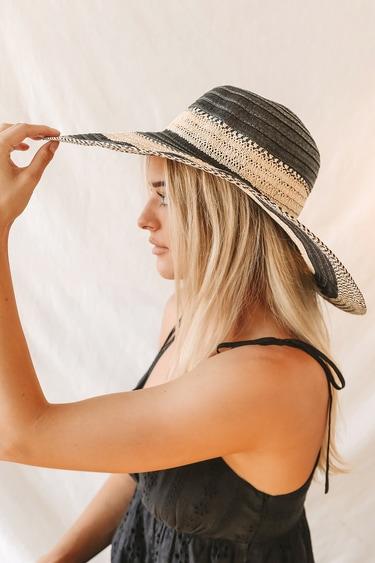 Sunshine Sweetness Black Striped Floppy Straw Hat