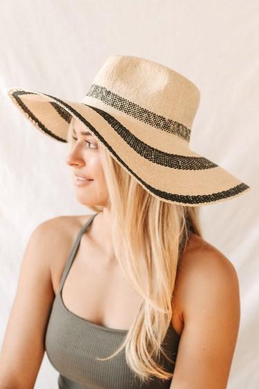 Daytime Bliss Black Striped Floppy Straw Hat