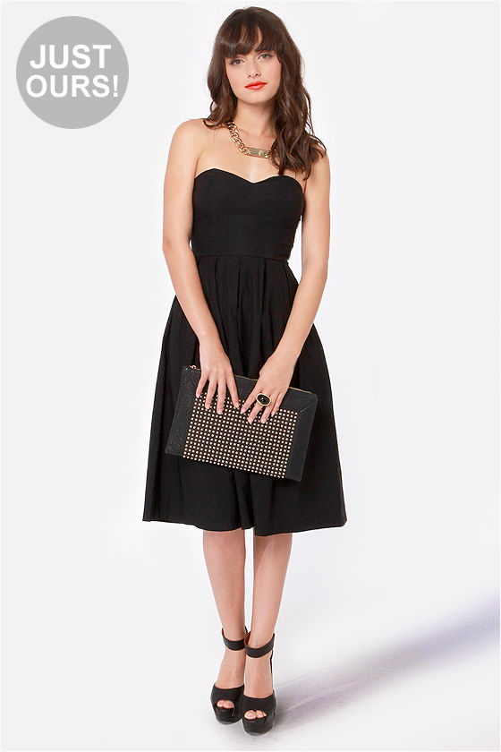 Strapless dress black&white ombre