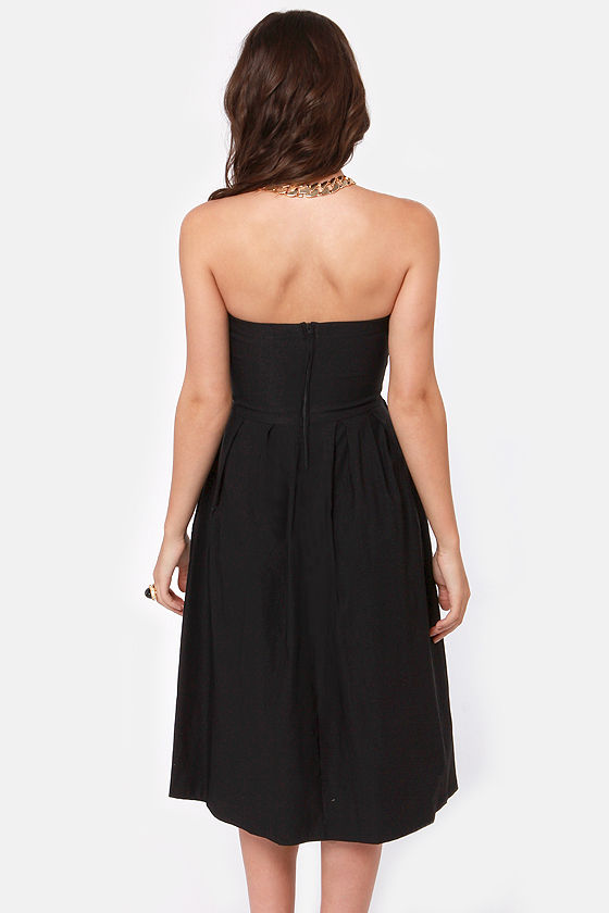 LULUS Exclusive Ballroom Lessons Strapless Black Midi Dress at Lulus.com!