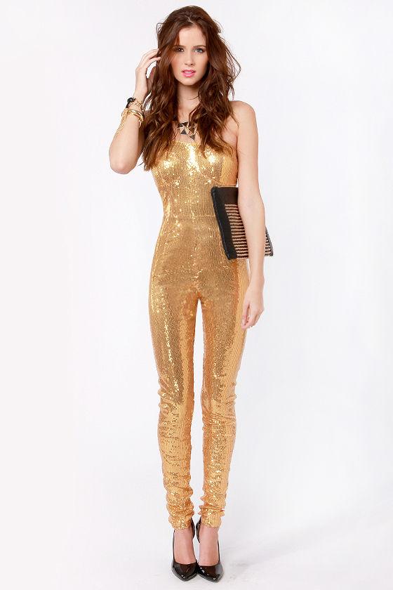 Sexy Gold Jumpsuit Sequin Jumpsuit Strapless Jumpsuit