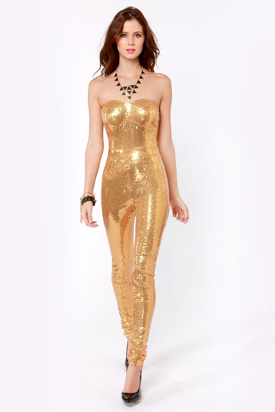 One for the Money Strapless Gold Sequin Jumpsuit
