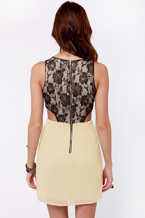 Lace-in' Learned Black and Beige Lace Dress at Lulus.com!