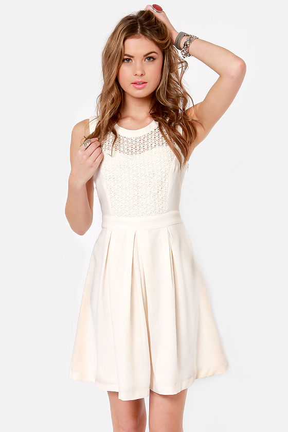 Cream Lace Dress with Belt