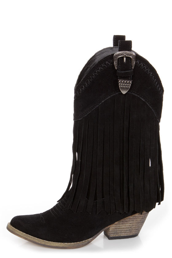 Very Volatile Hillside Black Fringe Leather Cowboy Boots - $121.00