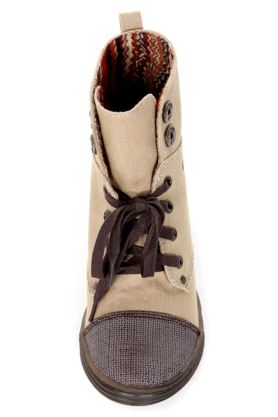 Blowfish Topanga Bark Street Denim Two-Tone Wedge Sneakers at Lulus.com!