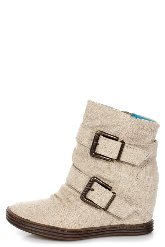Blowfish Tugo Natural Cozumel Linen Belted Wedge Booties at Lulus.com!