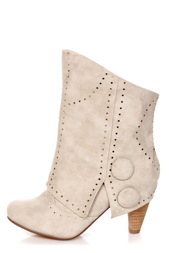 Not Rated News Flash Cream Pierced and Buttoned Fold-Over Boots at Lulus.com!
