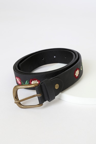 Take to the Trails Black Floral Embroidered Belt