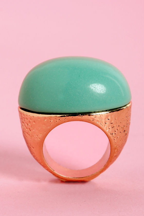 Party Atmosphere Turquoise Cocktail Ring at Lulus.com!