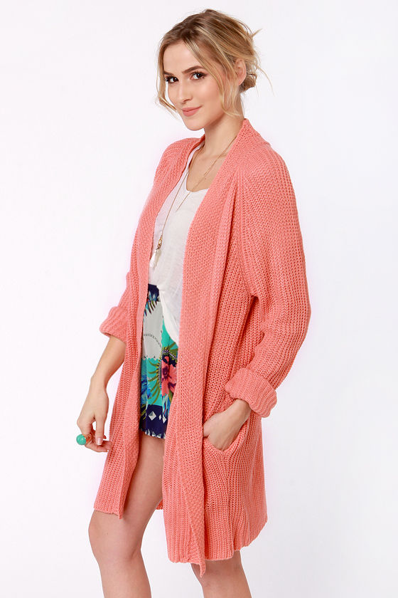 Knits Fine By Me Oversized Coral Sweater at Lulus.com!