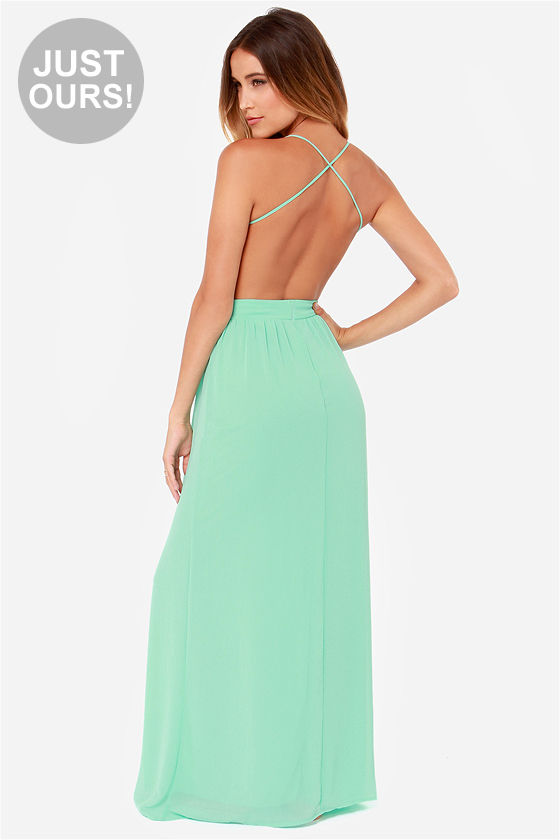 Sexy Backless Dress Mint Green Dress Maxi Dress 49 00