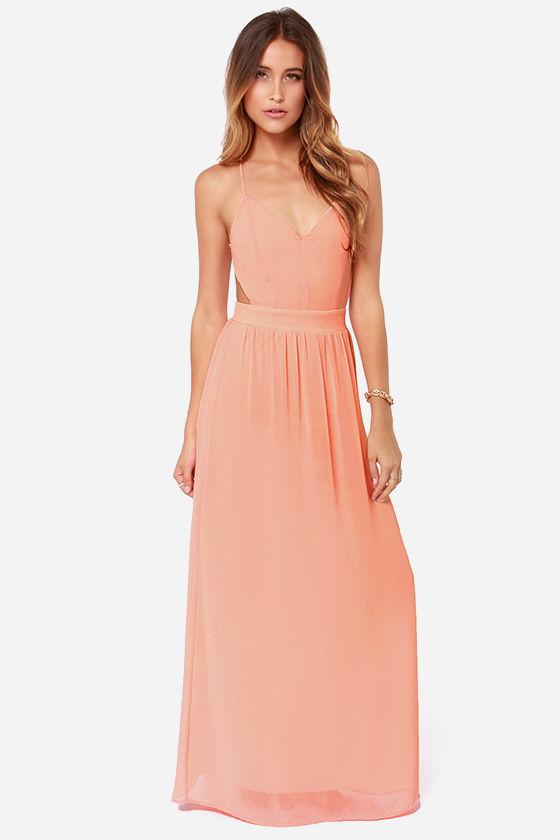 Sexy Backless Dress - Peach Dress - Maxi Dress - $49.00