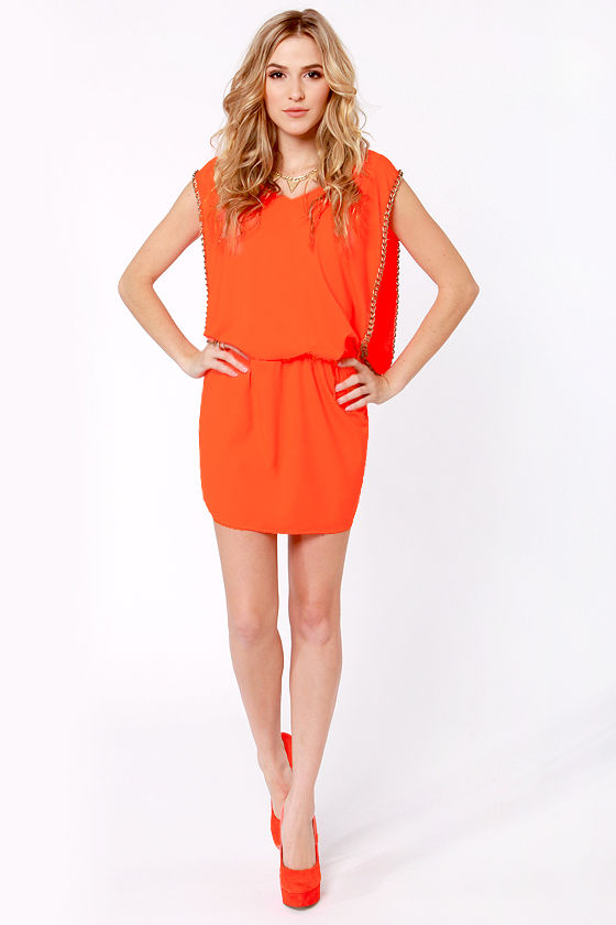 Fight For Your Brights Neon Orange Dress at Lulus.com!