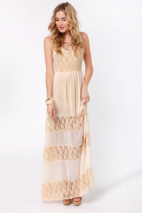 Pretty Maxi Dress - Lace Dress - Cream Dress - $60.00