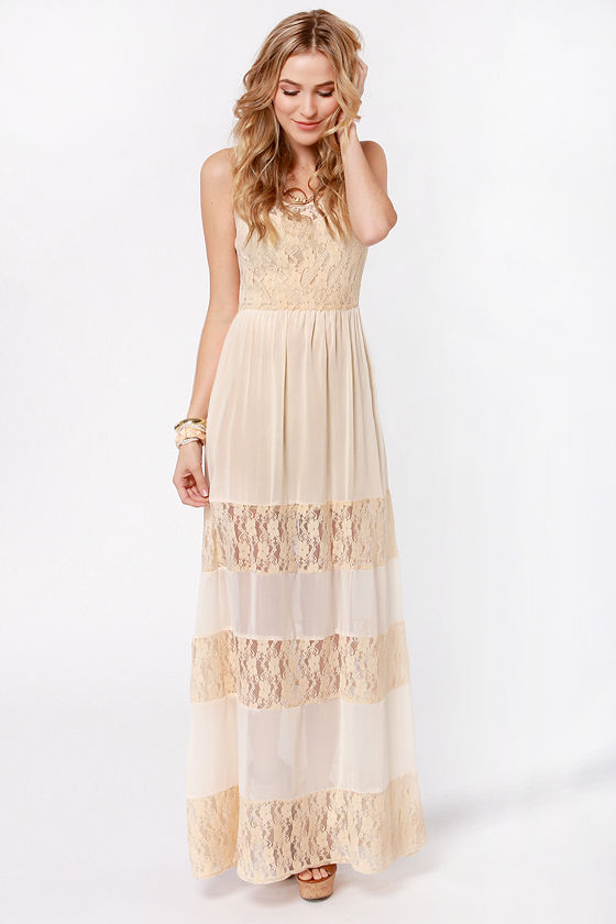 Splendor's Game Cream Lace Maxi Dress at Lulus.com!