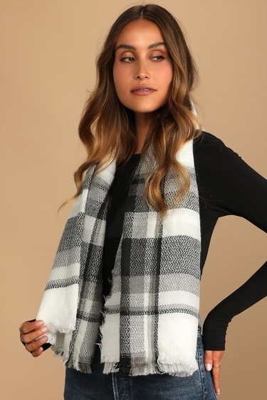 Coffee Dates Black and White Plaid Oversized Scarf