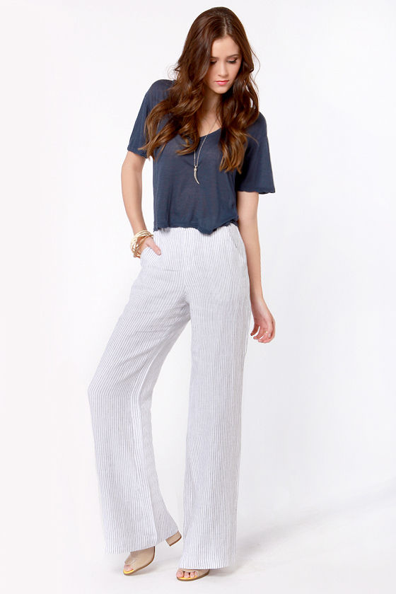 Lightweight Striped Pants - Linen Pants - Wide Leg Pants - High ...