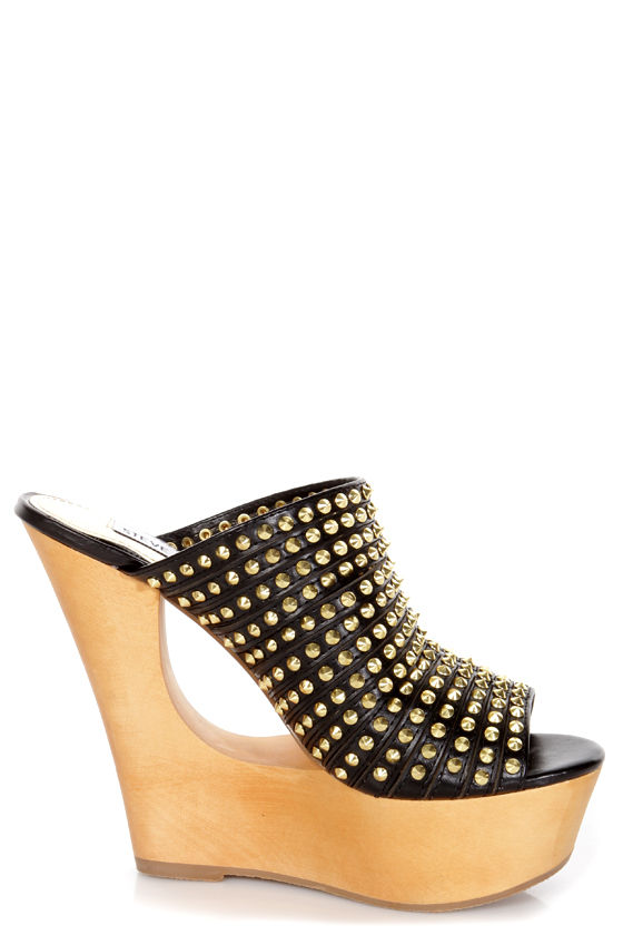 Steve Madden Luccious Black Studded Peep Toe Mule Wedges at Lulus.com!