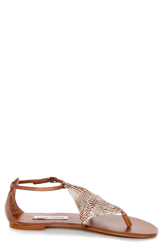 Steve Madden Shineyy Cognac Rhinestone Studded Thong Sandals at Lulus.com!