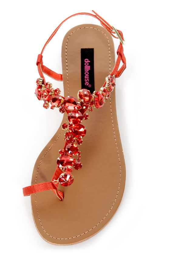 Dollhouse Radiant Orange Rhinestone Studded Thong Sandals at Lulus.com!