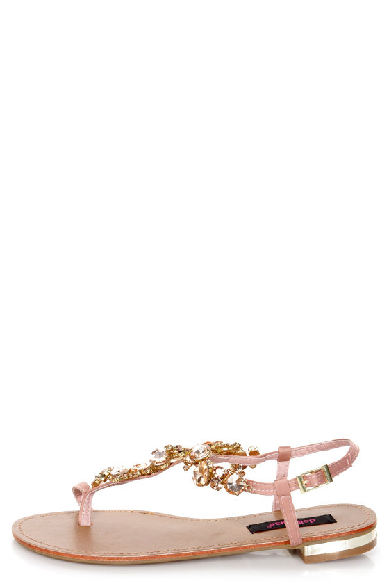 Dollhouse Radiant Rose Gold Rhinestone Studded Thong Sandals at Lulus.com!