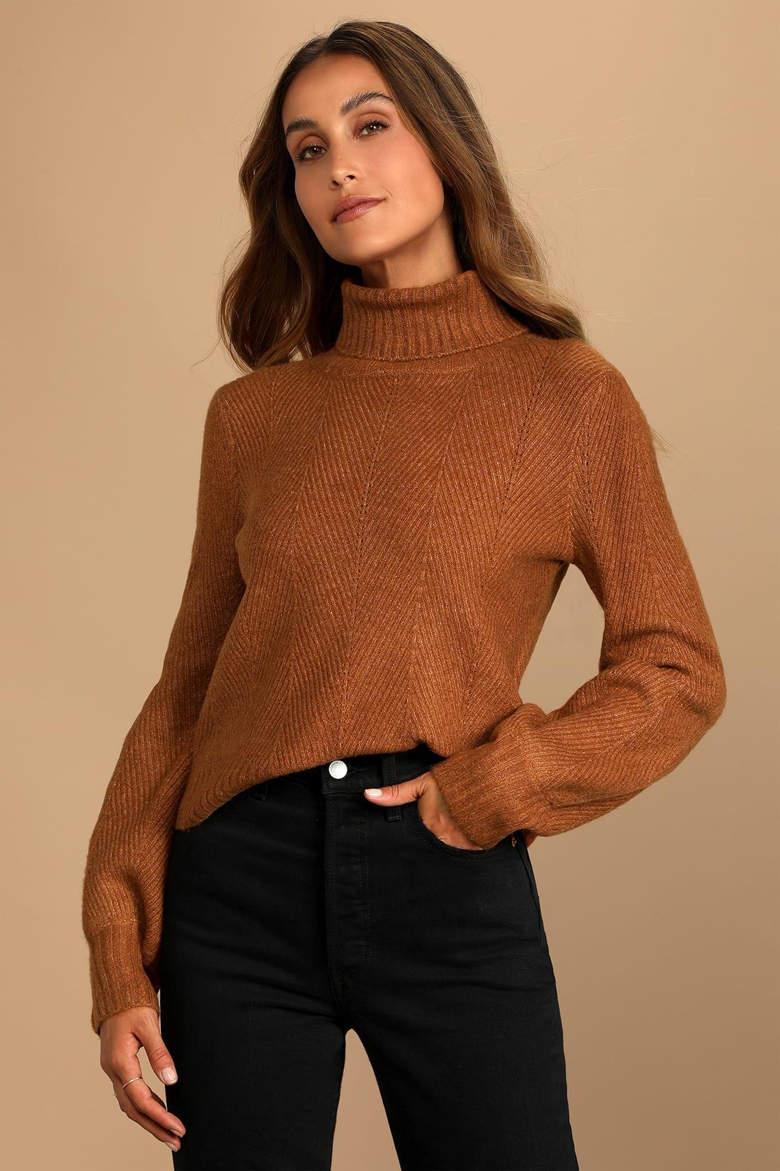 Meet Cozy Rust Orange Knit Long Sleeve Turtleneck Sweater