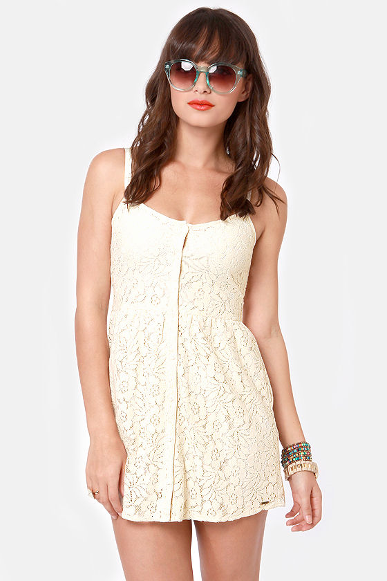 bbd4e80c25c Volcom Not So Classic Dress - Cream Dress - Lace Dress -  49.50