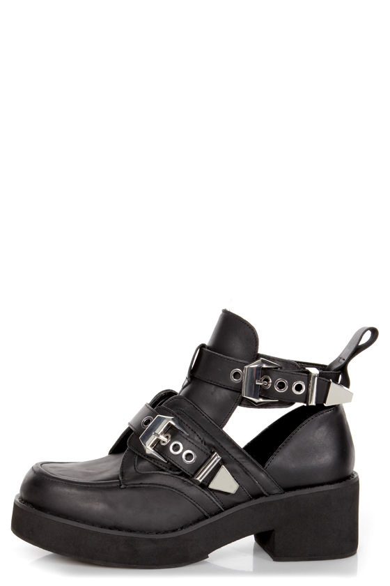 890ae032d3c Steve Madden Ave-A Black Leather Cutout Belted Platform Booties -  149.00