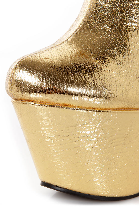 Privileged Baxton Gold Metallic Sculptural Cutout Wedge Booties at Lulus.com!