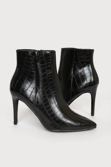 Selenah Black Croc Pointed Toe Ankle Booties