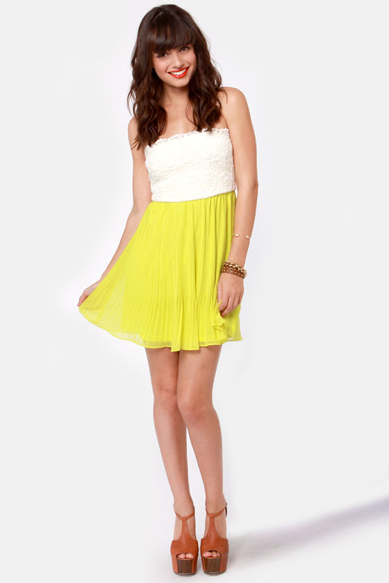 Tulip Temptations Strapless Chartreuse Dress at Lulus.com!