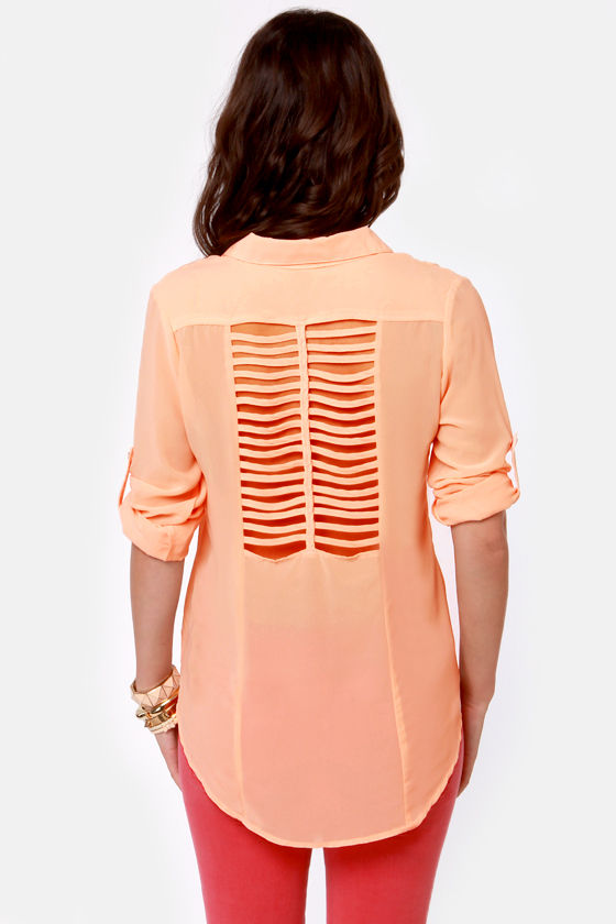 Good In-Vent-tions Peach Button-Up Top at Lulus.com!