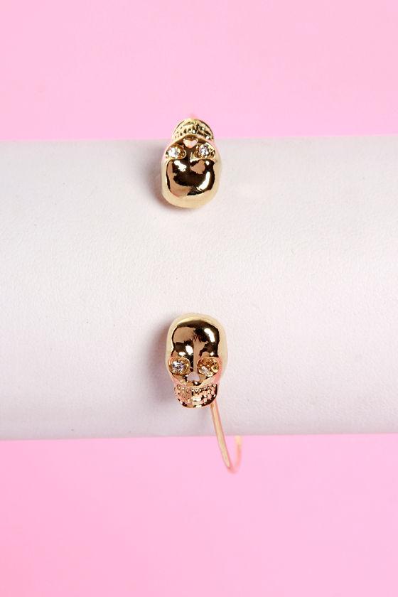 0e278394a00 Cool Gold Bracelet - Skull Bracelet - Clutch Bracelet - $13.00