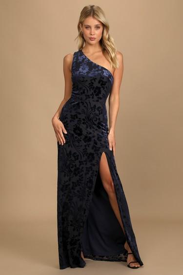 Marvelous Moi Navy Blue Burnout Velvet One-Shoulder Maxi Dress