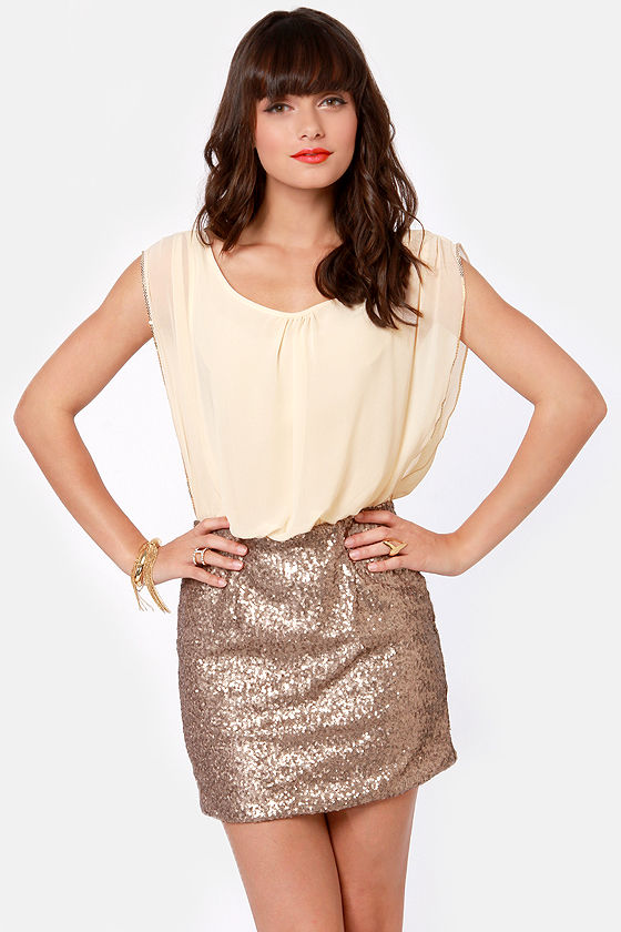 Sexy Cream Dress - Gold Dress - Sequin Dress - $80.00