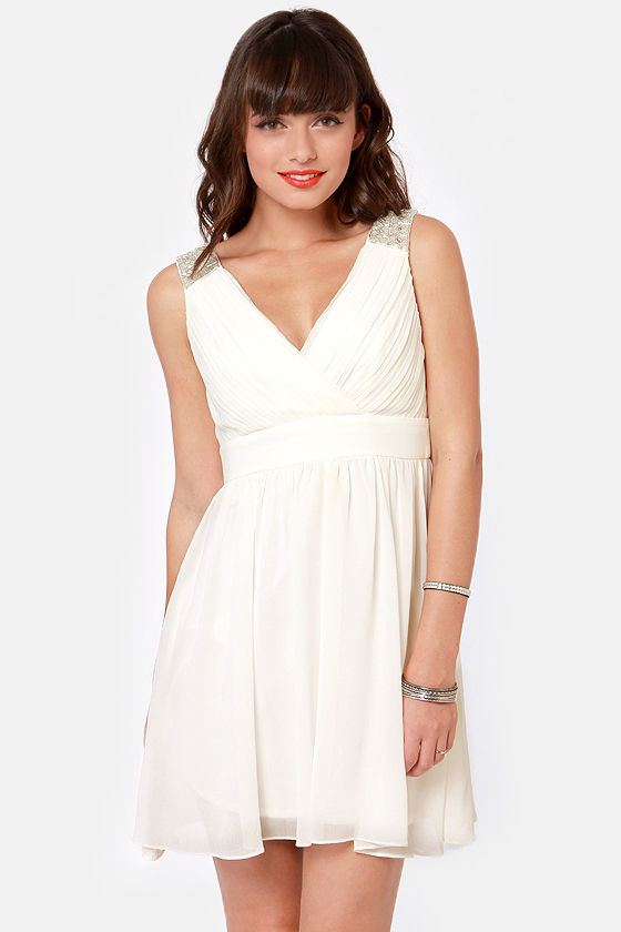 Seven Year Glitz Beaded White Dress at Lulus.com!