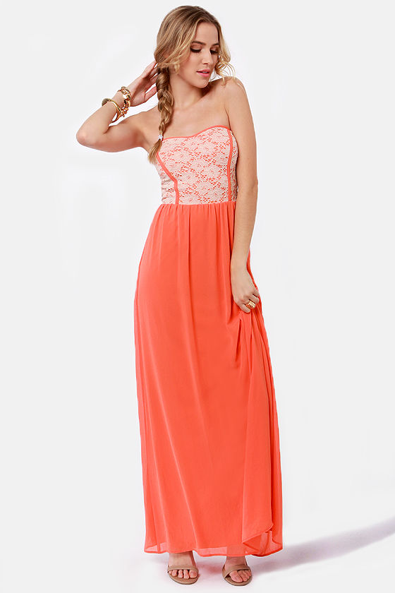 Bringin' Maxi Back Strapless Orange Maxi Dress at Lulus.com!