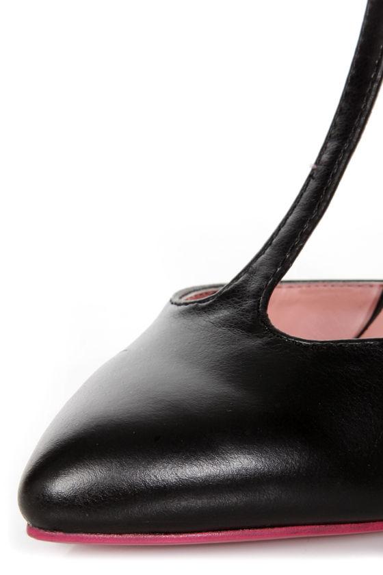 Shoe Republic LA Think Black T Strap Pointed Pumps at Lulus.com!