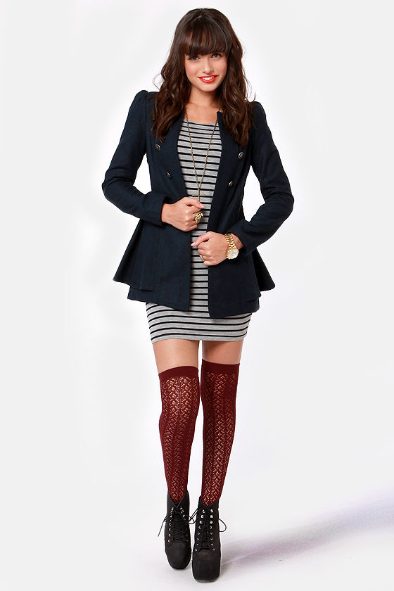Shaded Creek Navy Blue Coat at Lulus.com!