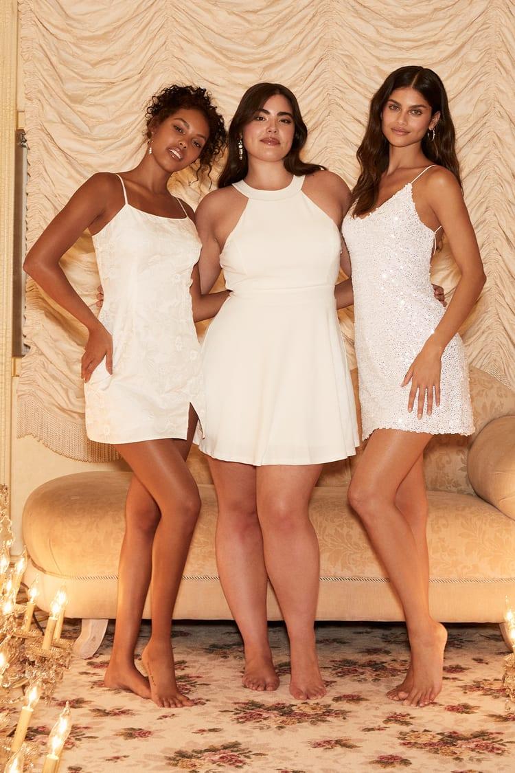 White Floral Jacquard Dress