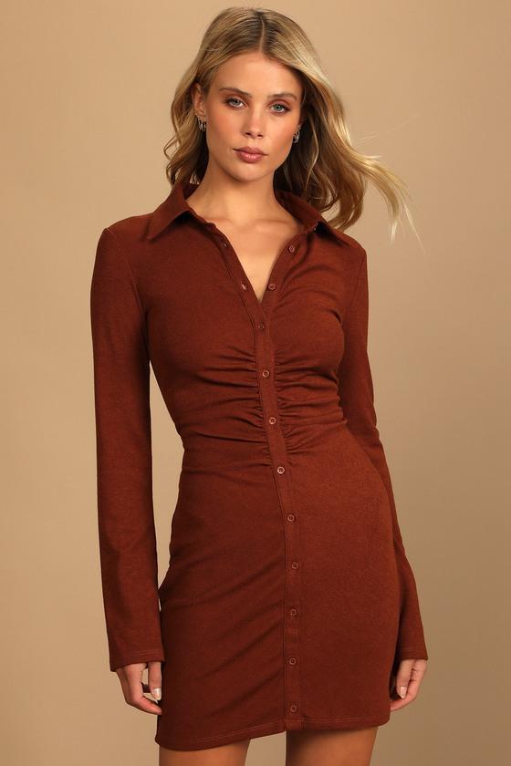 A Little Prep Rust Brown Button-Up Bodycon Mini Dress