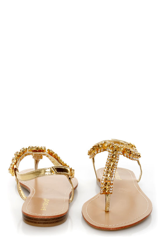 6465a17513d692 Bamboo Steno 70 Gold Rhinestone T Strap Thong Sandals -  27.00